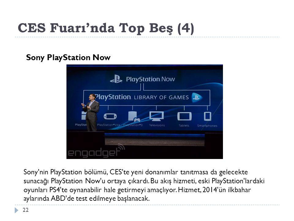 CES Fuarı'nda Top Beş (4) 22 Sony PlayStation Now Sony nin PlayStation bölümü, CES te yeni donanımlar tanıtmasa da gelecekte sunaca ğ ı PlayStation Now u ortaya çıkardı.
