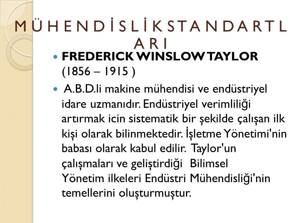 FREDERICK WINSLOW TAYLOR (1856 – 1915 ) 1878 DE İ ŞÇ İ OLARAK G İ RD İĞİ MIDVALE ÇEL İ K Ş İ RKET İ NDE HIZLA YÜKSELEREK 6 YIL İ ÇER İ S İ NDE BAŞMÜHEND İ S OLDU.