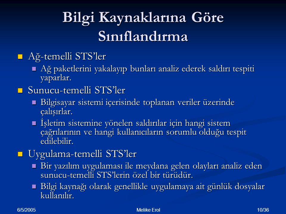 6/5/2005 10/36 Melike Erol Bilgi Kaynaklarına Göre Sınıflandırma Ağ-temelli STS'ler Ağ-temelli STS'ler Ağ paketlerini yakalayıp bunları analiz ederek