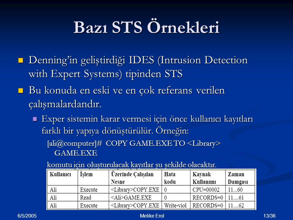 6/5/2005 13/36 Melike Erol Bazı STS Örnekleri Denning'in geliştirdiği IDES (Intrusion Detection with Expert Systems) tipinden STS Denning'in geliştird