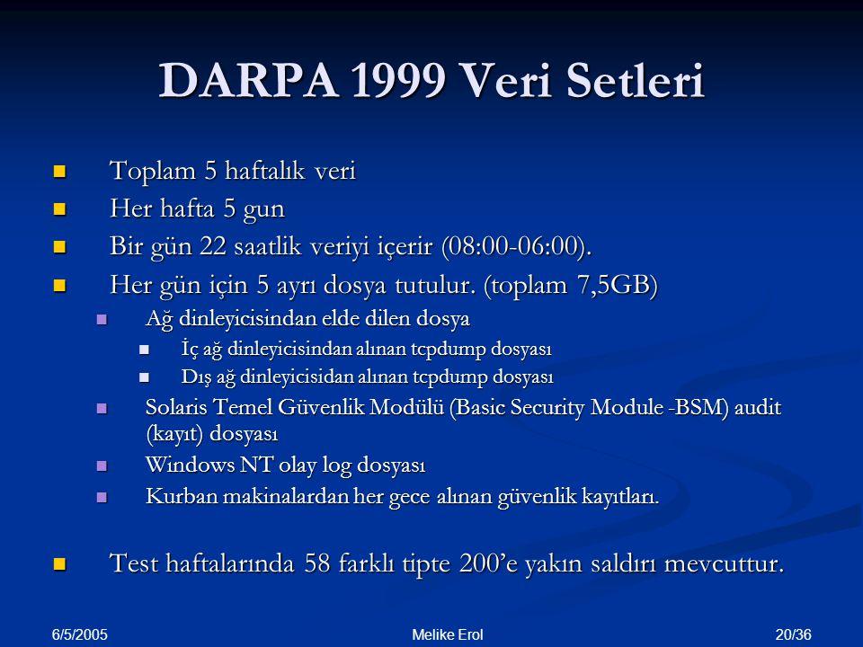 6/5/2005 20/36 Melike Erol DARPA 1999 Veri Setleri Toplam 5 haftalık veri Toplam 5 haftalık veri Her hafta 5 gun Her hafta 5 gun Bir gün 22 saatlik ve