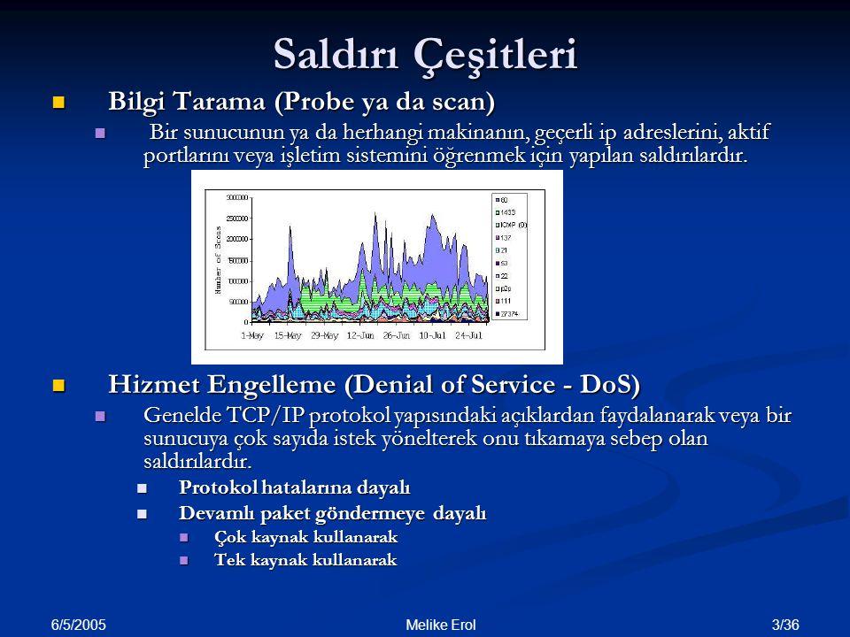 6/5/2005 3/36 Melike Erol Saldırı Çeşitleri Bilgi Tarama (Probe ya da scan) Bilgi Tarama (Probe ya da scan) Bir sunucunun ya da herhangi makinanın, ge