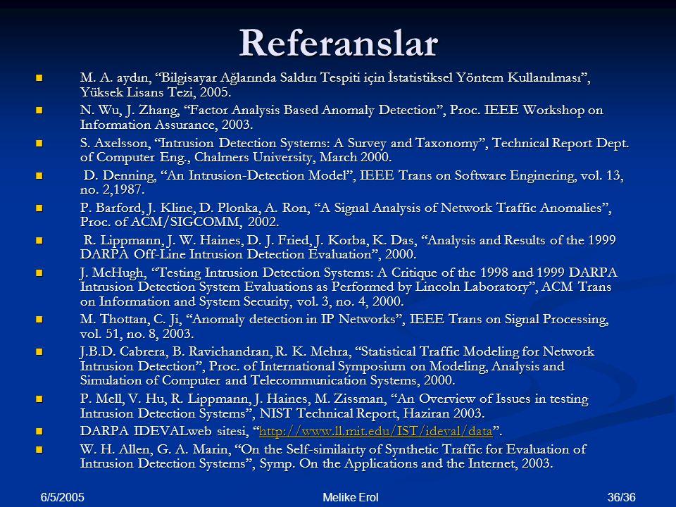 """6/5/2005 36/36 Melike ErolReferanslar M. A. aydın, """"Bilgisayar Ağlarında Saldırı Tespiti için İstatistiksel Yöntem Kullanılması"""", Yüksek Lisans Tezi,"""