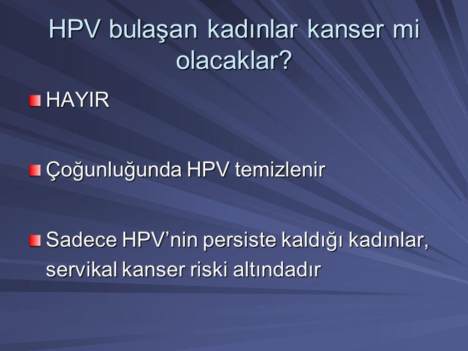 HPV bulaşan kadınlar kanser mi olacaklar? HAYIR Çoğunluğunda HPV temizlenir Sadece HPV'nin persiste kaldığı kadınlar, servikal kanser riski altındadır