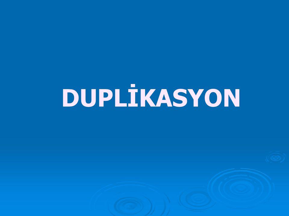 3) Duplikasyon  Bir kromozom segmentinin iki kopyasısının bulunması halidir.Duplikasyon mayoz esnasında eşit olmayan krossing over sonucu oluşmaktadı