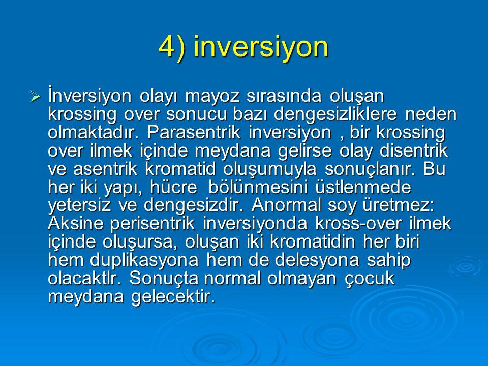 4) inversiyon  İki kırık arasındaki kromozom parçasının kendi üzerinde 180 derecelik bir dönüş yaparak, tekrar kromozoma yapışmasıdır. İnversiyon kro