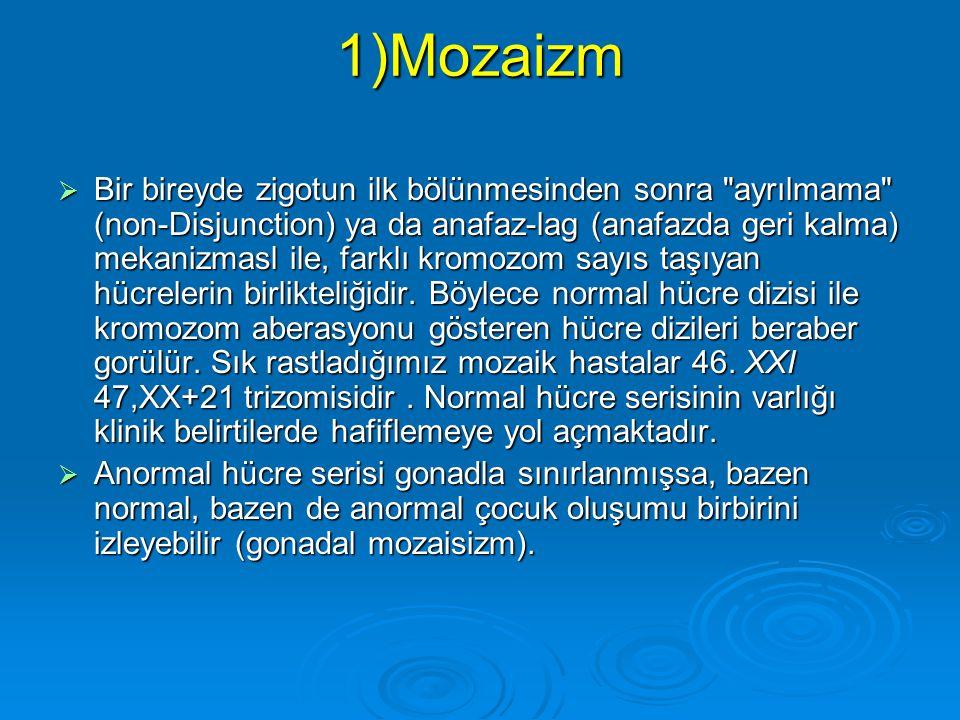 Diğer Anomaliler 1)Mozaizm 1)Mozaizm 2)Kimerizm 2)Kimerizm 3)Hidatiform Mole 3)Hidatiform Mole