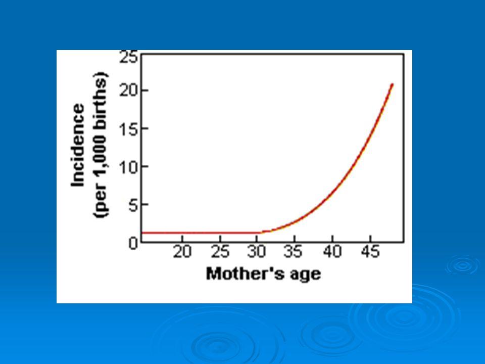 Maternal non-disjunction % 95 Mayoz I % 5 Mayoz II Görülme sıklığı 1 / 600 - 1 / 700 Anne yaşı 35  % 1-2