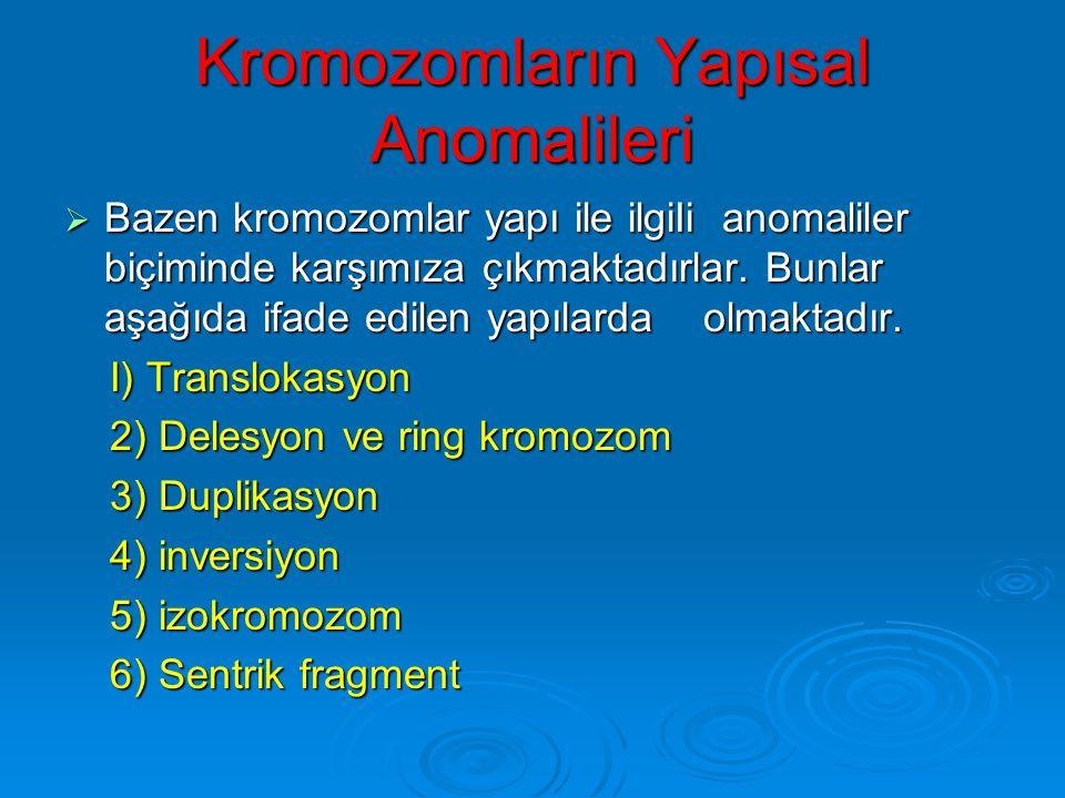KROMOZOMLAR VE ANOMALİLERİ Prof.Dr.İlhan Sezgin TIBBİ GENETİK 28.3.2006