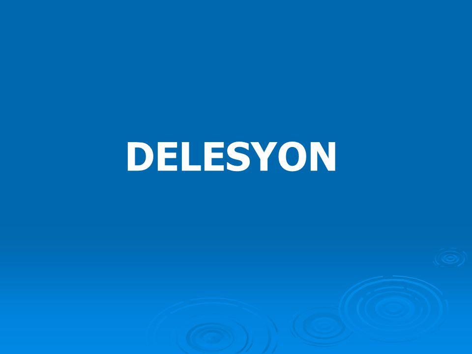 2) Delesyon ve ring kromozom  Bir kromozomun herhangi bir kısmının kaybına delesyon denir. Delesyon genellikle iki kırık arasındaki parçanın kaybı şe