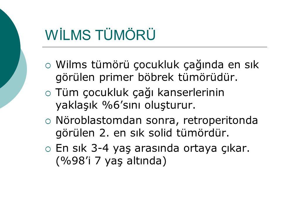 WİLMS TÜMÖRÜ  Wilms tümörü çocukluk çağında en sık görülen primer böbrek tümörüdür.  Tüm çocukluk çağı kanserlerinin yaklaşık %6'sını oluşturur.  N