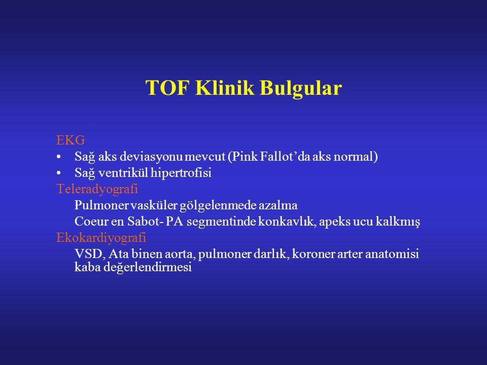 TOF Klinik Bulgular EKG Sağ aks deviasyonu mevcut (Pink Fallot'da aks normal) Sağ ventrikül hipertrofisi Teleradyografi Pulmoner vasküler gölgelenmede azalma Coeur en Sabot- PA segmentinde konkavlık, apeks ucu kalkmış Ekokardiyografi VSD, Ata binen aorta, pulmoner darlık, koroner arter anatomisi kaba değerlendirmesi