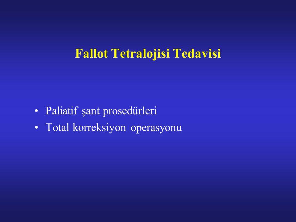 Fallot Tetralojisi Tedavisi Paliatif şant prosedürleri Total korreksiyon operasyonu