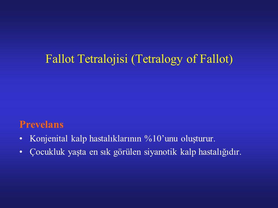 Fallot Tetralojisi (Tetralogy of Fallot) Prevelans Konjenital kalp hastalıklarının %10'unu oluşturur.