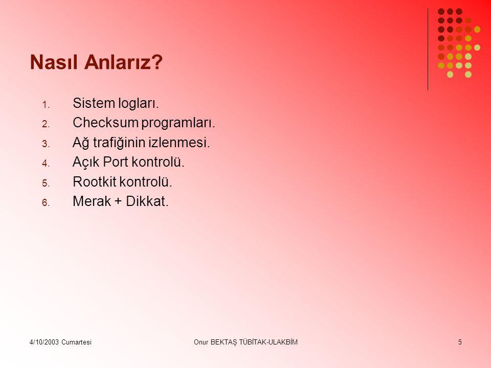 4/10/2003 CumartesiOnur BEKTAŞ TÜBİTAK-ULAKBİM16 Sisteme Yerleştirilmiş Yabancı Programları Arayın Sistem dosyalarındaki değişiklikleri tarayın.