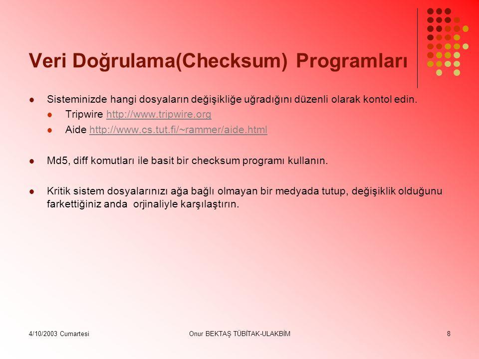 4/10/2003 CumartesiOnur BEKTAŞ TÜBİTAK-ULAKBİM9 #!/bin/bash NEWDB= /tmp/check1 OLDDB= /tmp/check2 INITDB= /tmp/initdb DIRLIST= /etc /root /etc/rc.d /bin /usr/bin /usr/local/bin /usr/lib /usr/local/etc /usr/local/lib /usr/local/squid/etc /usr/local/s amba/private DIFF= /usr/bin/diff if [ .