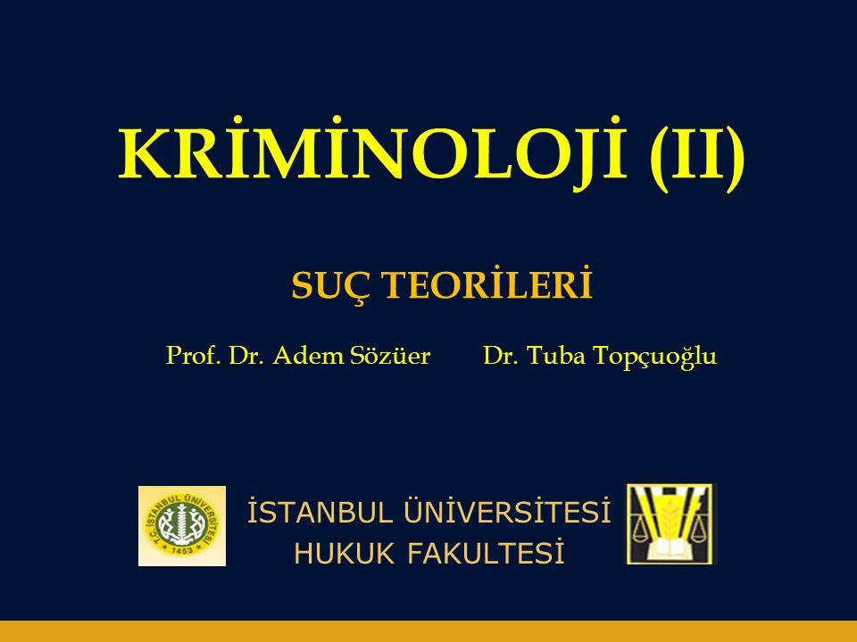 KRİMİNOLOJİ (II) İSTANBUL ÜNİVERSİTESİ HUKUK FAKULTESİ SUÇ TEORİLERİ Prof.
