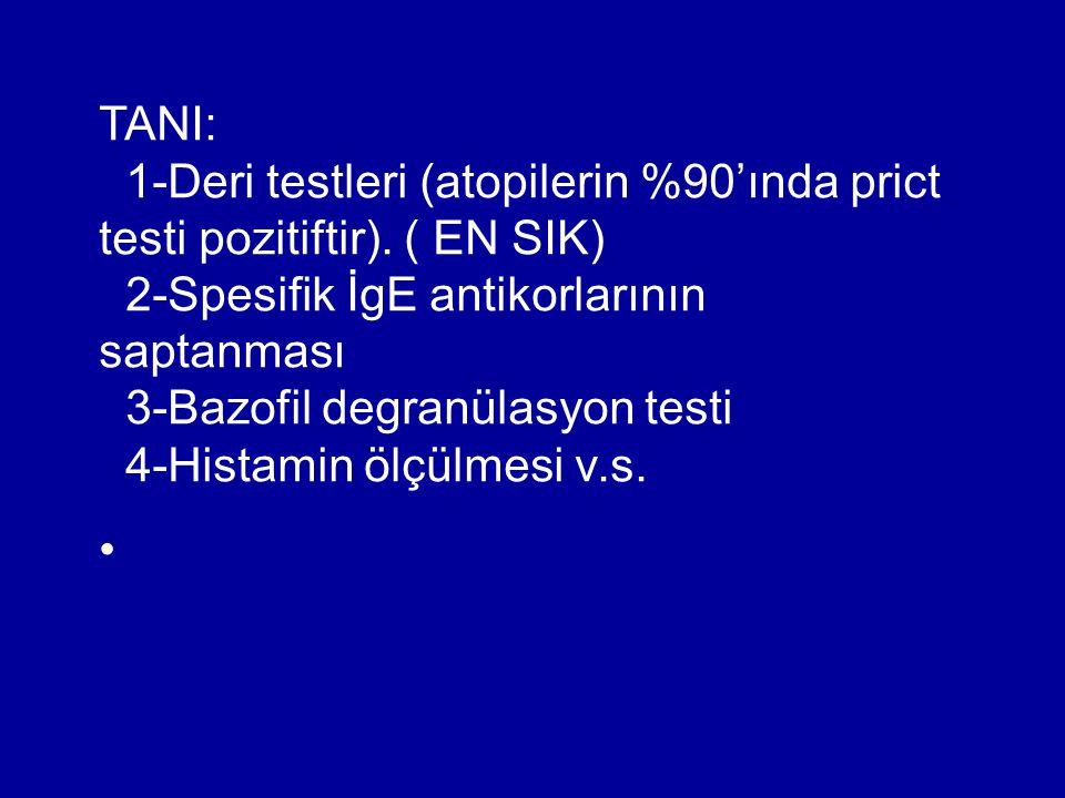 TANI: 1-Deri testleri (atopilerin %90'ında prict testi pozitiftir). ( EN SIK) 2-Spesifik İgE antikorlarının saptanması 3-Bazofil degranülasyon testi 4