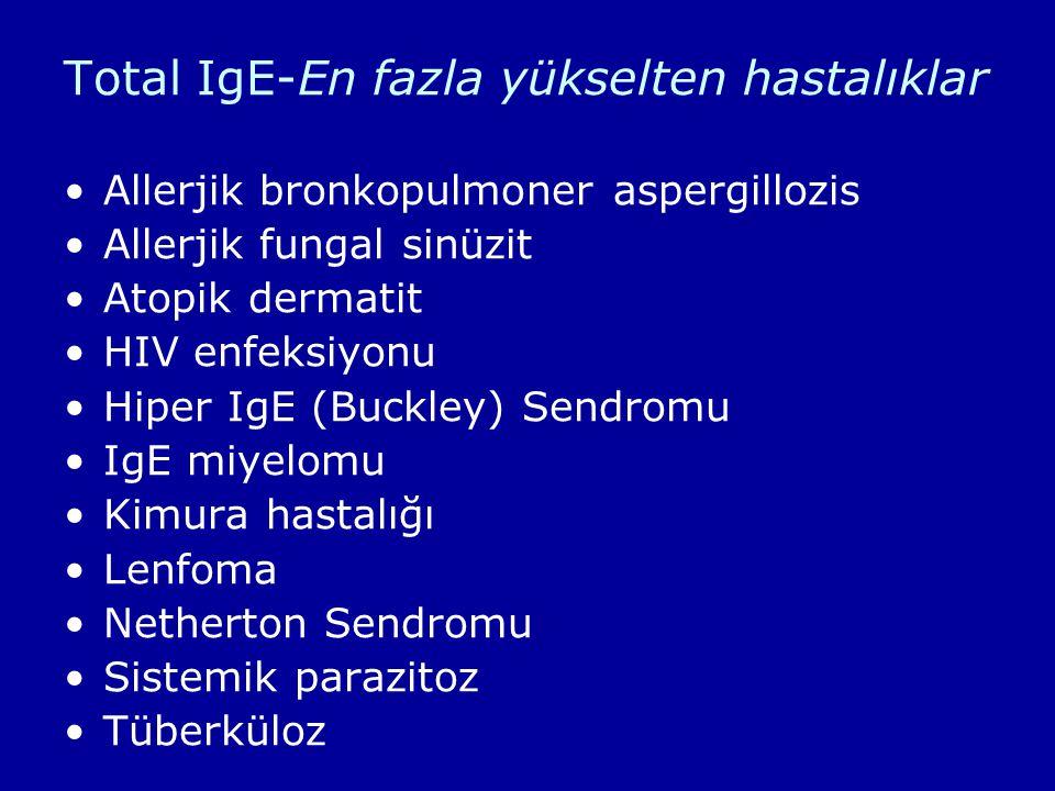 Total IgE-En fazla yükselten hastalıklar Allerjik bronkopulmoner aspergillozis Allerjik fungal sinüzit Atopik dermatit HIV enfeksiyonu Hiper IgE (Buck
