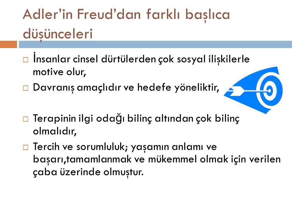Adler'in Freud'dan farklı başlıca düşünceleri  İ nsanlar cinsel dürtülerden çok sosyal ilişkilerle motive olur,  Davranış amaçlıdır ve hedefe yöneli