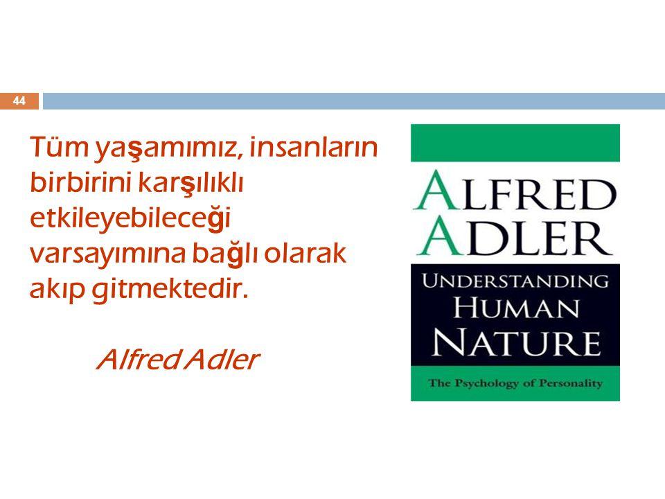 44 Tüm ya ş amımız, insanların birbirini kar ş ılıklı etkileyebilece ğ i varsayımına ba ğ lı olarak akıp gitmektedir. Alfred Adler