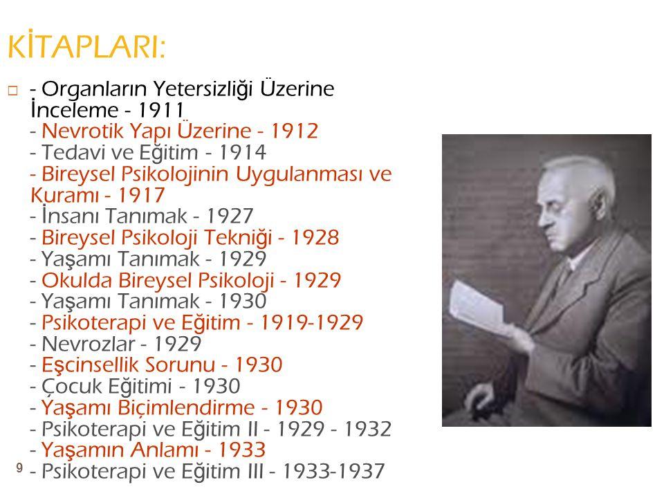 9 K İ TAPLARI:  - Organların Yetersizli ğ i Üzerine İ nceleme - 1911 - Nevrotik Yapı Üzerine - 1912 - Tedavi ve E ğ itim - 1914 - Bireysel Psikolojinin Uygulanması ve Kuramı - 1917 - İ nsanı Tanımak - 1927 - Bireysel Psikoloji Tekni ğ i - 1928 - Ya ş amı Tanımak - 1929 - Okulda Bireysel Psikoloji - 1929 - Ya ş amı Tanımak - 1930 - Psikoterapi ve E ğ itim - 1919-1929 - Nevrozlar - 1929 - E ş cinsellik Sorunu - 1930 - Çocuk E ğ itimi - 1930 - Ya ş amı Biçimlendirme - 1930 - Psikoterapi ve E ğ itim II - 1929 - 1932 - Ya ş amın Anlamı - 1933 - Psikoterapi ve E ğ itim III - 1933-1937