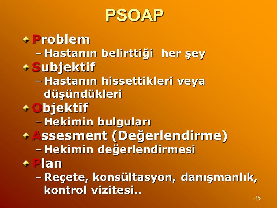 PSOAP Problem –Hastanın belirttiği her şey Subjektif –Hastanın hissettikleri veya düşündükleri Objektif –Hekimin bulguları Assesment (Değerlendirme) –