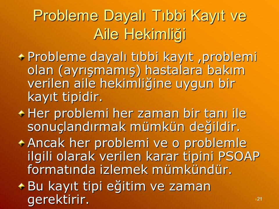 Probleme Dayalı Tıbbi Kayıt ve Aile Hekimliği Probleme dayalı tıbbi kayıt,problemi olan (ayrışmamış) hastalara bakım verilen aile hekimliğine uygun bi