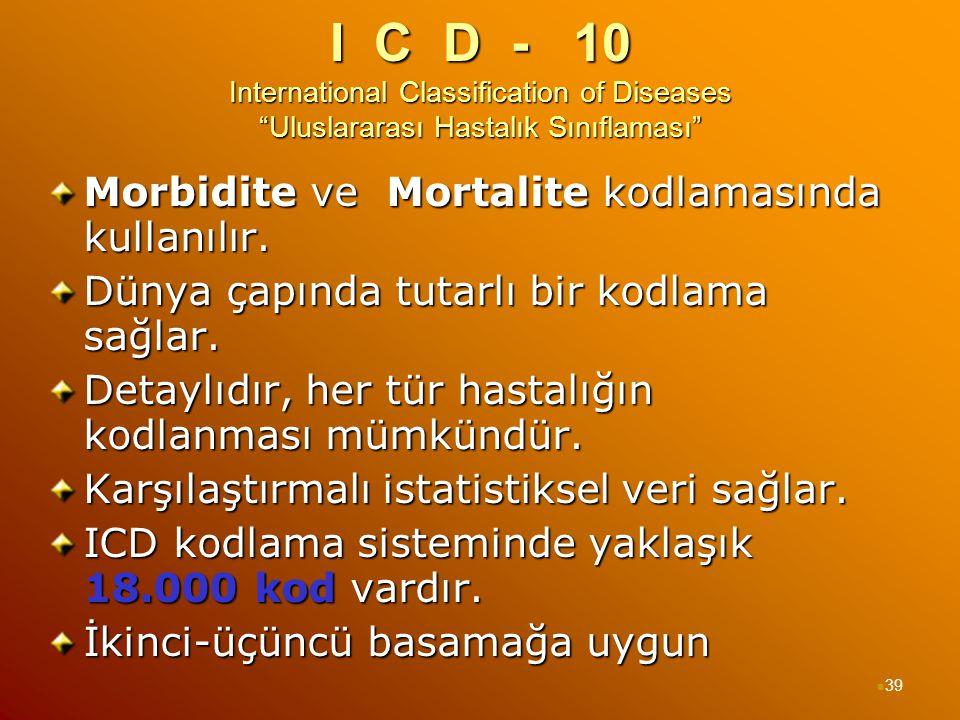 """I C D - 10 International Classification of Diseases """"Uluslararası Hastalık Sınıflaması"""" Morbidite ve Mortalite kodlamasında kullanılır. Dünya çapında"""