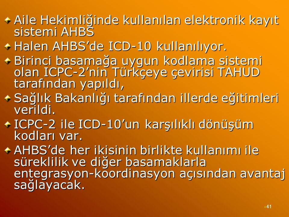 Aile Hekimliğinde kullanılan elektronik kayıt sistemi AHBS Halen AHBS'de ICD-10 kullanılıyor. Birinci basamağa uygun kodlama sistemi olan ICPC-2'nin T