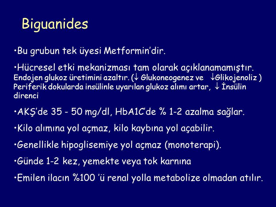 Biguanides Bu grubun tek üyesi Metformin'dir. Hücresel etki mekanizması tam olarak açıklanamamıştır. Endojen glukoz üretimini azaltır. (  Glukoneogen
