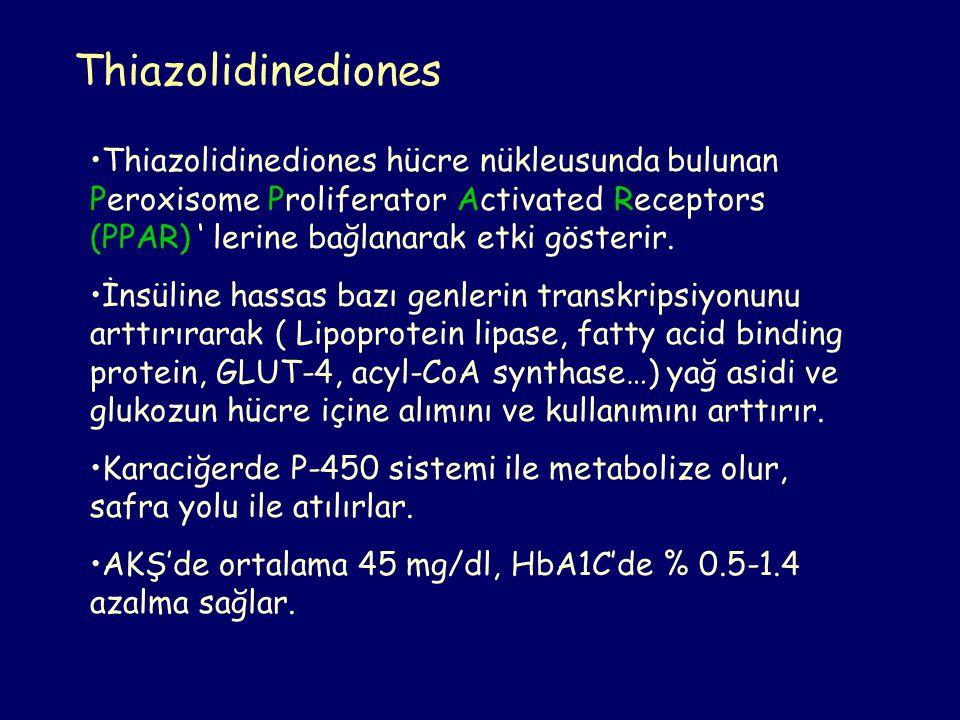 Thiazolidinediones Thiazolidinediones hücre nükleusunda bulunan Peroxisome Proliferator Activated Receptors (PPAR) ' lerine bağlanarak etki gösterir.