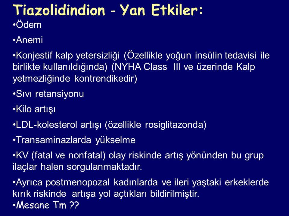 Tiazolidindion - Yan Etkiler: Ödem Anemi Konjestif kalp yetersizliği (Özellikle yoğun insülin tedavisi ile birlikte kullanıldığında) (NYHA Class III v
