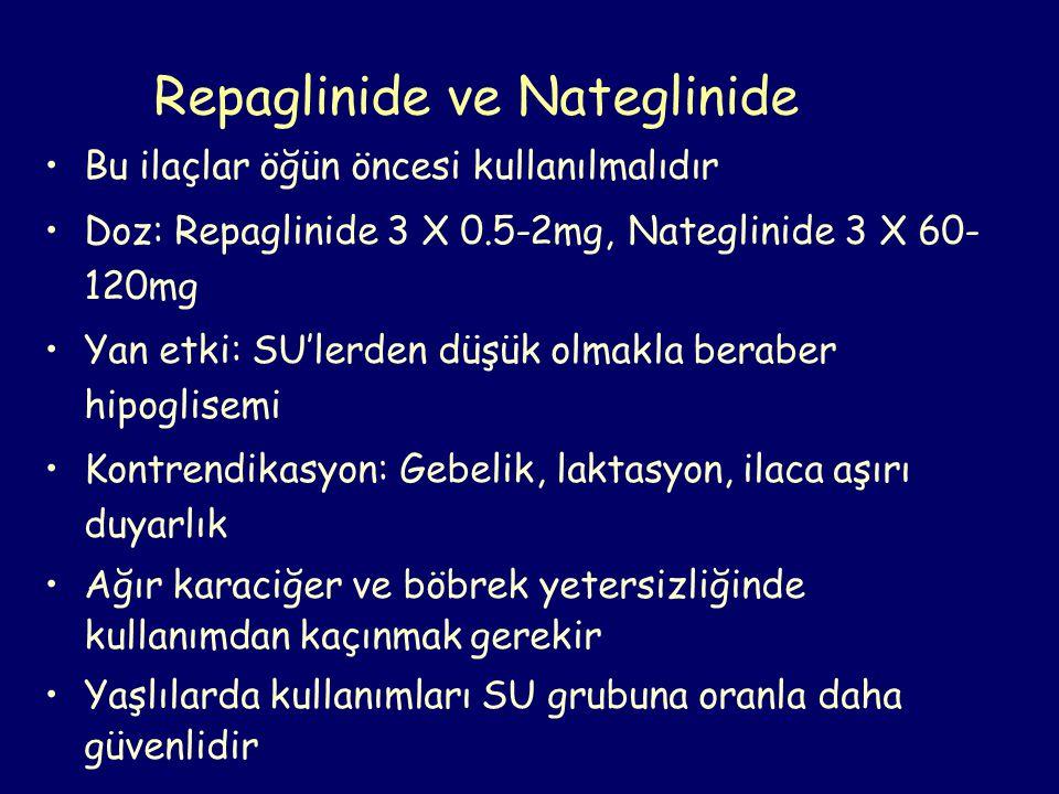 Repaglinide ve Nateglinide Bu ilaçlar öğün öncesi kullanılmalıdır Doz: Repaglinide 3 X 0.5-2mg, Nateglinide 3 X 60- 120mg Yan etki: SU'lerden düşük ol