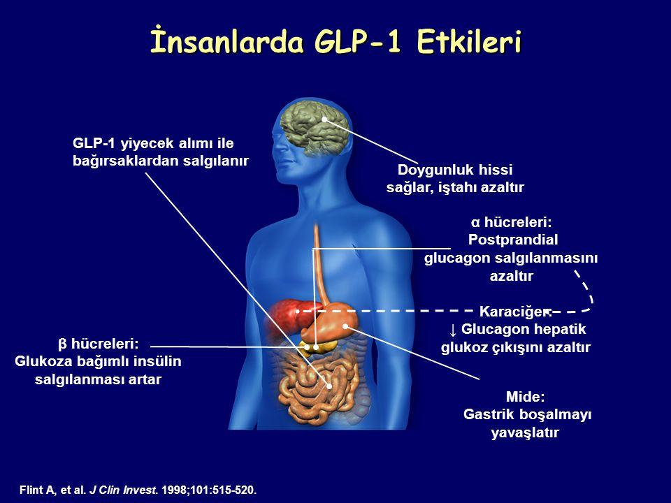 İnsanlarda GLP-1 Etkileri Doygunluk hissi sağlar, iştahı azaltır β hücreleri: Glukoza bağımlı insülin salgılanması artar Flint A, et al. J Clin Invest