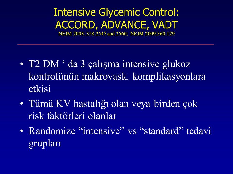 Intensive Glycemic Control: ACCORD, ADVANCE, VADT NEJM 2008; 358:2545 and 2560; NEJM 2009;360:129 T2 DM ' da 3 çalışma intensive glukoz kontrolünün ma