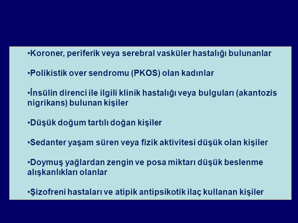 Koroner, periferik veya serebral vasküler hastalığı bulunanlar Polikistik over sendromu (PKOS) olan kadınlar İnsülin direnci ile ilgili klinik hastalı