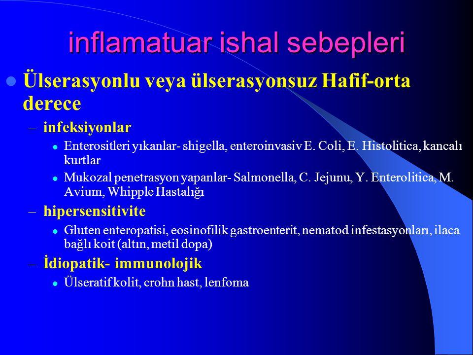 inflamatuar ishal sebepleri Ülserasyonlu veya ülserasyonsuz Hafif-orta derece – infeksiyonlar Enterositleri yıkanlar- shigella, enteroinvasiv E. Coli,