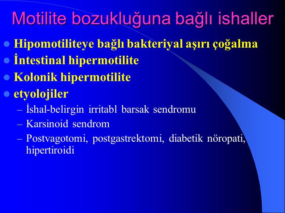 Motilite bozukluğuna bağlı ishaller Hipomotiliteye bağlı bakteriyal aşırı çoğalma İntestinal hipermotilite Kolonik hipermotilite etyolojiler – İshal-b