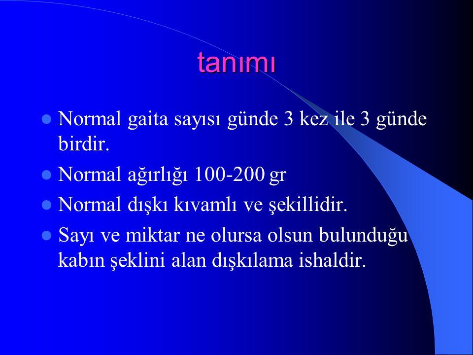 tanımı Normal gaita sayısı günde 3 kez ile 3 günde birdir. Normal ağırlığı 100-200 gr Normal dışkı kıvamlı ve şekillidir. Sayı ve miktar ne olursa ols