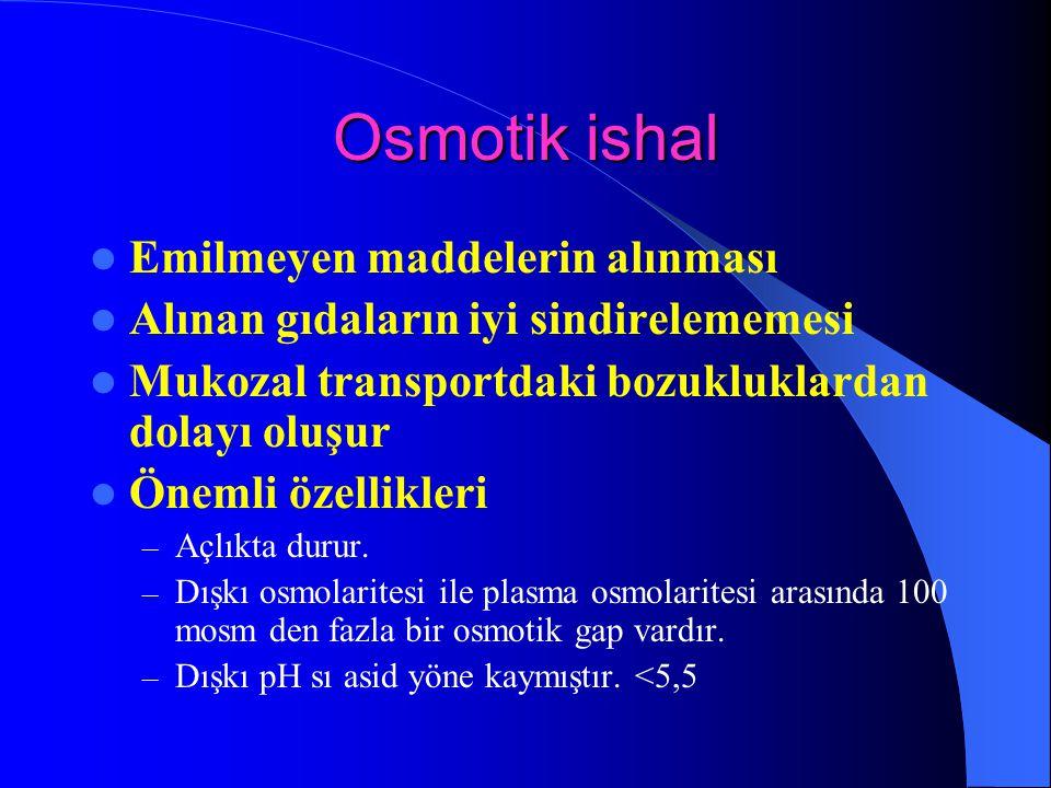 Osmotik ishal Emilmeyen maddelerin alınması Alınan gıdaların iyi sindirelememesi Mukozal transportdaki bozukluklardan dolayı oluşur Önemli özellikleri