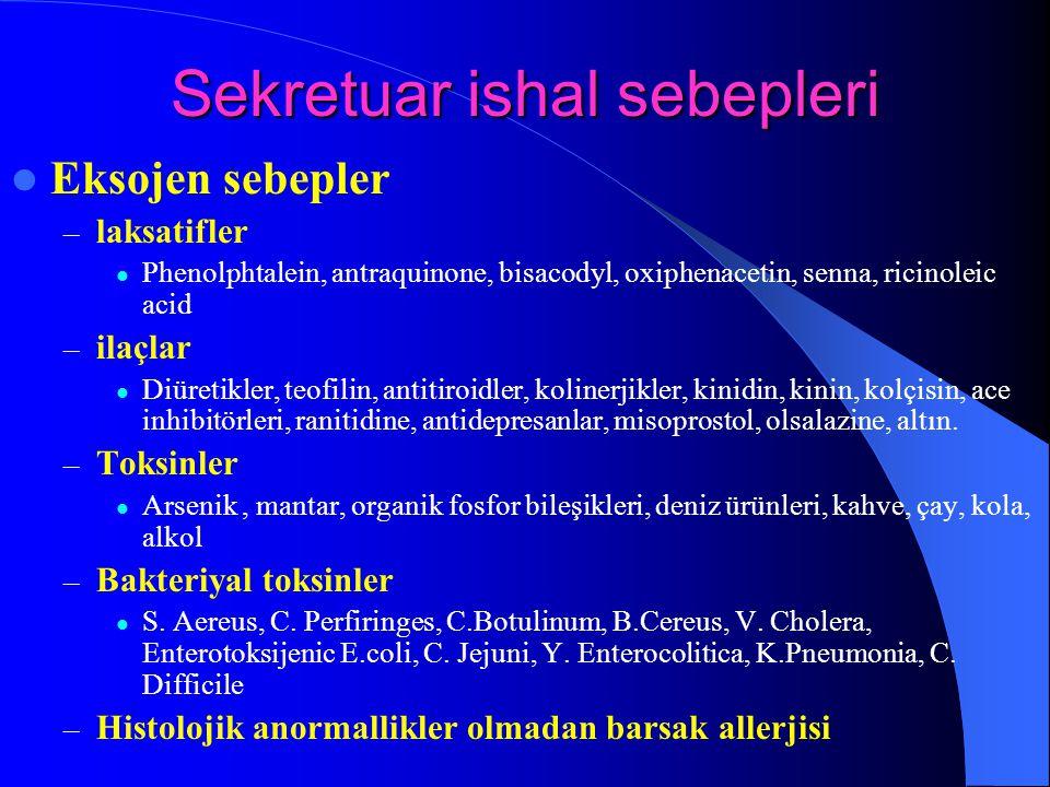 Sekretuar ishal sebepleri Eksojen sebepler – laksatifler Phenolphtalein, antraquinone, bisacodyl, oxiphenacetin, senna, ricinoleic acid – ilaçlar Diür