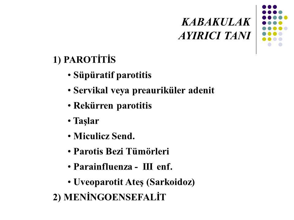 1) PAROTİTİS Süpüratif parotitis Servikal veya preauriküler adenit Rekürren parotitis Taşlar Miculicz Send. Parotis Bezi Tümörleri Parainfluenza - III