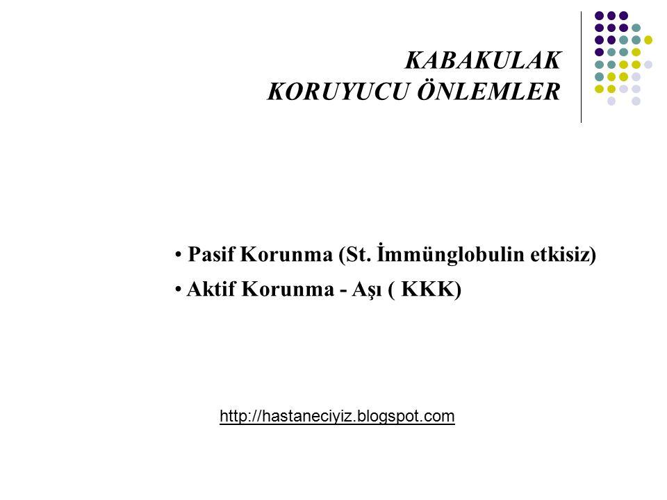 Pasif Korunma (St. İmmünglobulin etkisiz) Aktif Korunma - Aşı ( KKK) KABAKULAK KORUYUCU ÖNLEMLER http://hastaneciyiz.blogspot.com