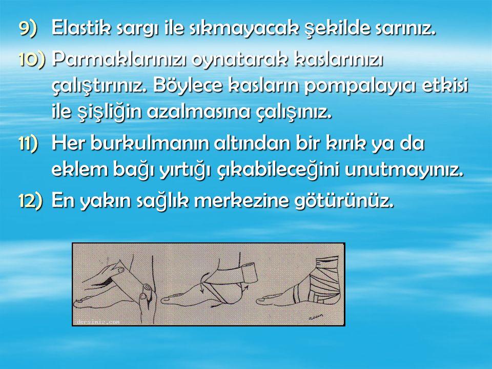9)Elastik sargı ile sıkmayacak ş ekilde sarınız. 10)Parmaklarınızı oynatarak kaslarınızı çalı ş tırınız. Böylece kasların pompalayıcı etkisi ile ş i ş