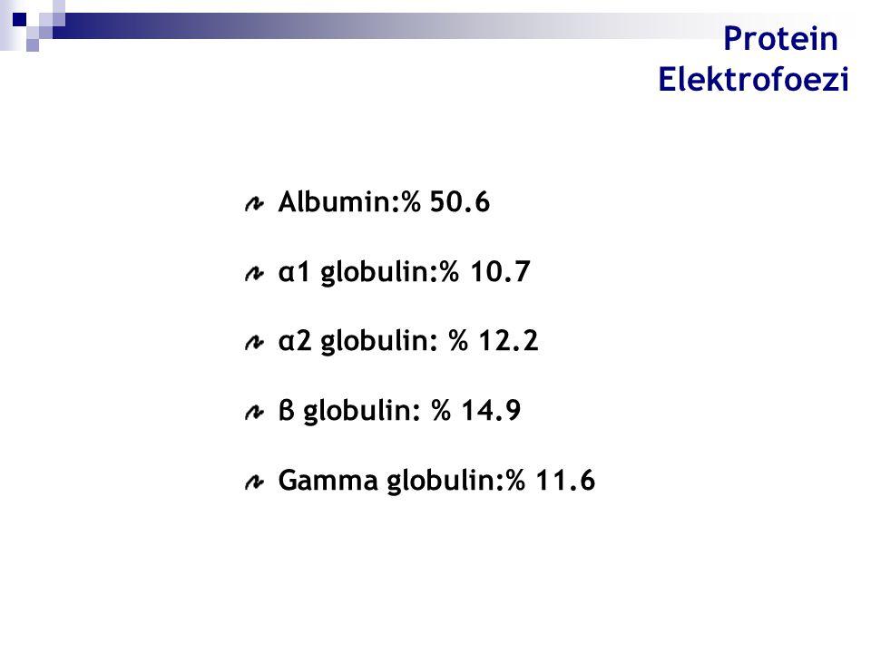 Albumin:% 50.6 α1 globulin:% 10.7 α2 globulin: % 12.2 β globulin: % 14.9 Gamma globulin:% 11.6 Protein Elektrofoezi