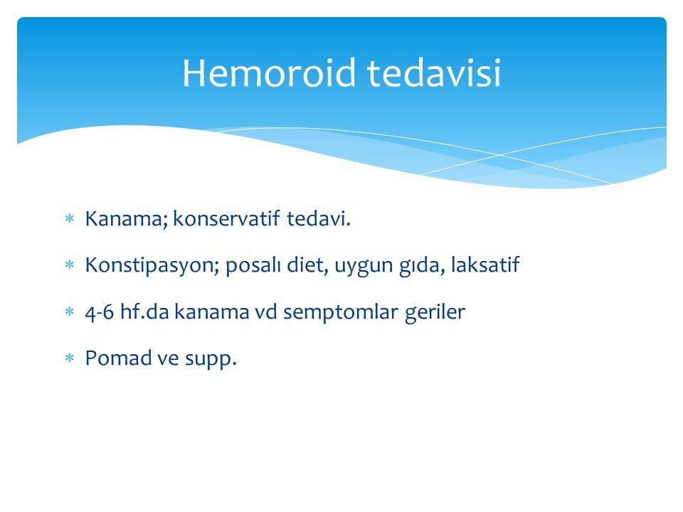  Kanama; konservatif tedavi.  Konstipasyon; posalı diet, uygun gıda, laksatif  4-6 hf.da kanama vd semptomlar geriler  Pomad ve supp. Hemoroid ted
