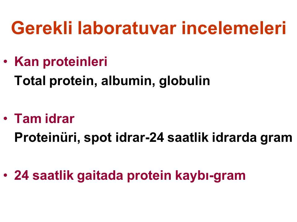 Gerekli laboratuvar incelemeleri Kan proteinleri Total protein, albumin, globulin Tam idrar Proteinüri, spot idrar-24 saatlik idrarda gram 24 saatlik