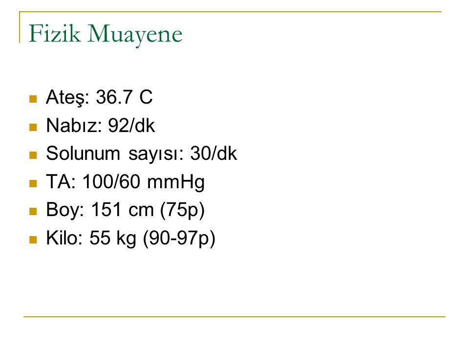 Fizik Muayene Ateş: 36.7 C Nabız: 92/dk Solunum sayısı: 30/dk TA: 100/60 mmHg Boy: 151 cm (75p) Kilo: 55 kg (90-97p)