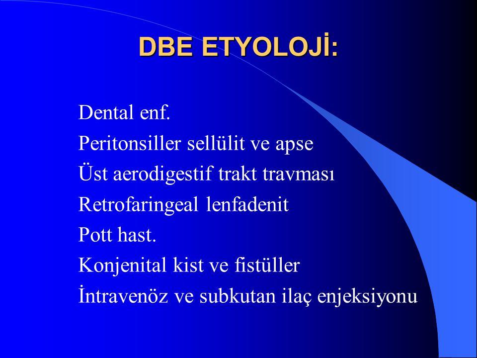 DBE ETYOLOJİ: Dental enf. Peritonsiller sellülit ve apse Üst aerodigestif trakt travması Retrofaringeal lenfadenit Pott hast. Konjenital kist ve fistü